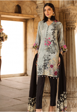 Sunshine Bloom Cotton Silk Collection by ALZOHAIB - 3 Piece Embroidered Unstitched Suit SB 04
