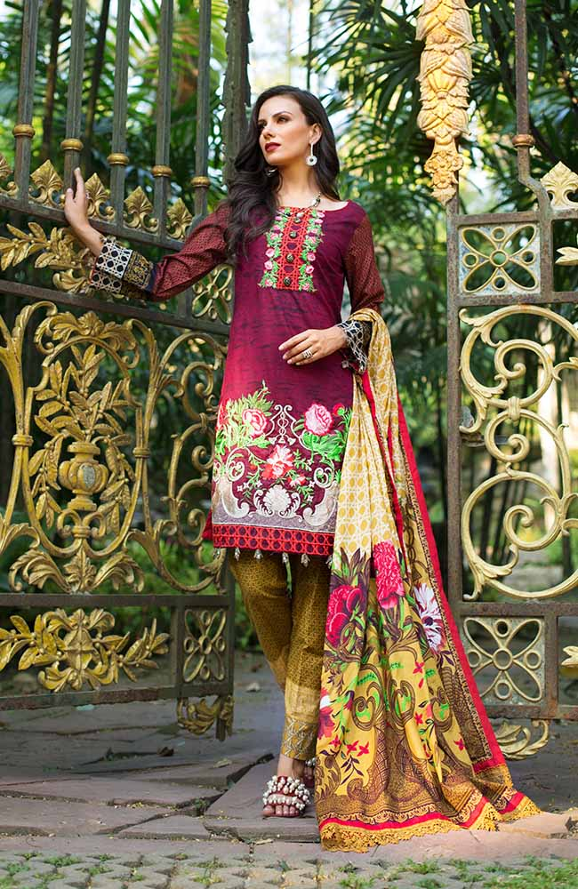 MF19L2 4A - Monsoon Festivana Embroidered Lawn Vol.2