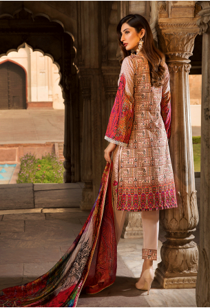 Sunshine Bloom Cotton Silk Collection by ALZOHAIB - 3 Piece Embroidered Unstitched Suit SB 05