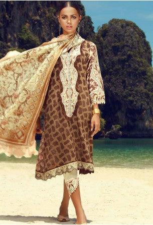 Tena Durrani Eid Festive Collection by ALZOHAIB - 3 Piece Embroidered Jacquard Suit - SEPIA 6