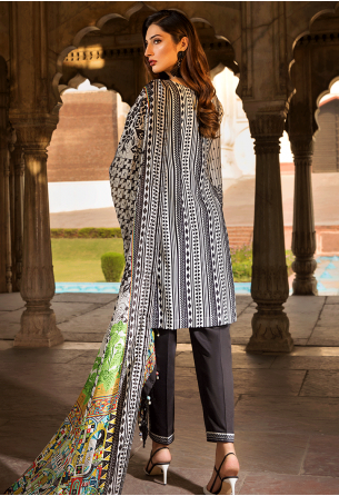 Sunshine Bloom Cotton Silk Collection by ALZOHAIB - 3 Piece Embroidered Unstitched Suit SB 06