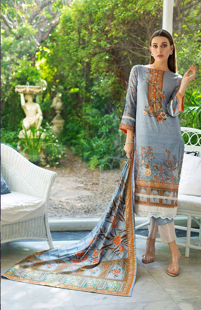 Monsoon Lawn Collection 2019 by ALZOHAIB - 3 Piece Printed Lawn Suit - 06A