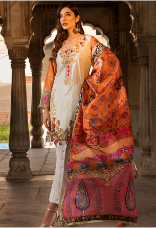 Sunshine Bloom Cotton Silk Collection by ALZOHAIB - 3 Piece Embroidered Unstitched Suit SB 07