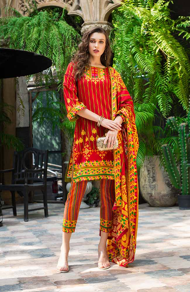 Monsoon Lawn Collection 2019 by ALZOHAIB - 3 Piece Printed Lawn Suit - 07C