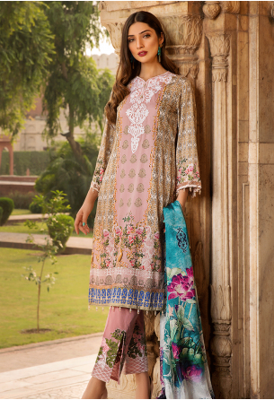 Sunshine Bloom Cotton Silk Collection by ALZOHAIB - 3 Piece Embroidered Unstitched Suit SB 08