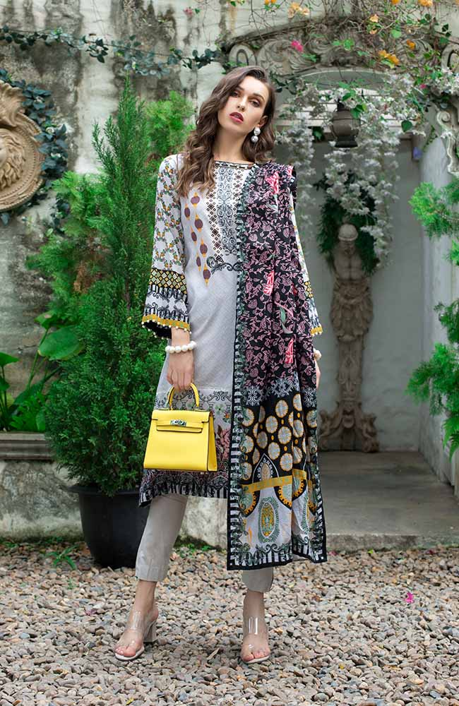 Monsoon Lawn Collection 2019 by ALZOHAIB - 3 Piece Printed Lawn Suit - 08A