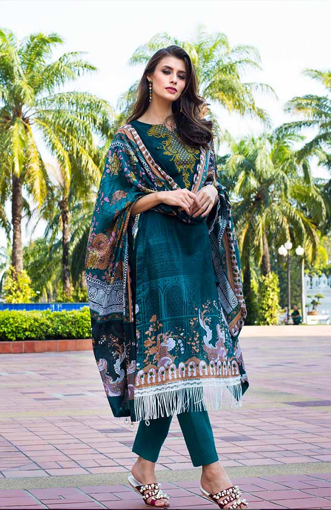Monsoon Lawn Collection 2019 by ALZOHAIB - 3 Piece Printed Lawn Suit - 09B