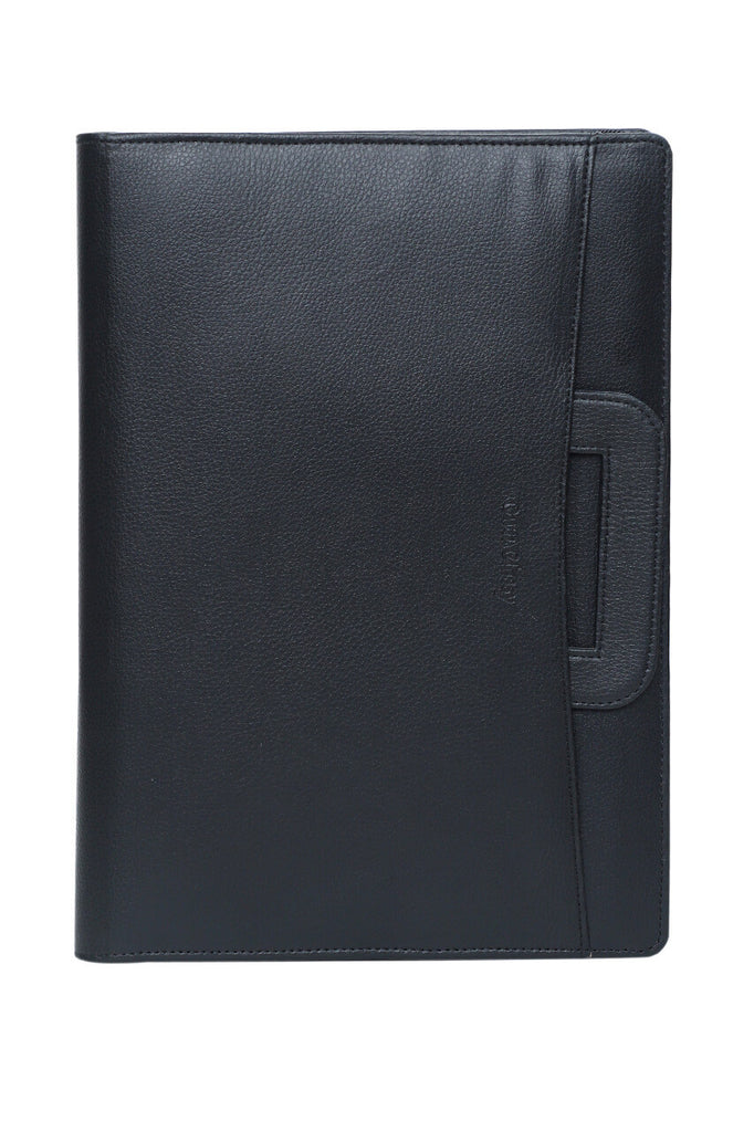 Luxury Black Leather Office File Folder for Documents & Certificates