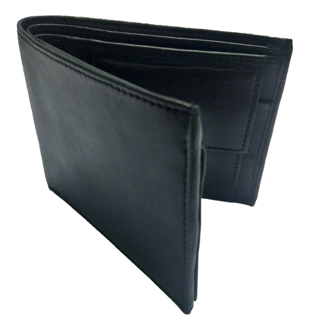 709b8d6384d2e Vintage Pure Suede Leather Black Bifold Wallet   Card Holder for Men