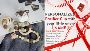personalized pacifier clip reindeer holiday baby gift