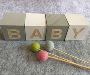 DIY Wooden Letter Blocks in Light Gray, Dark Gray and Black