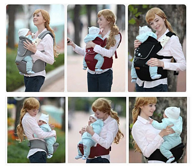 Cotton Ergonomic Baby Carrier with Removable Hip Seat