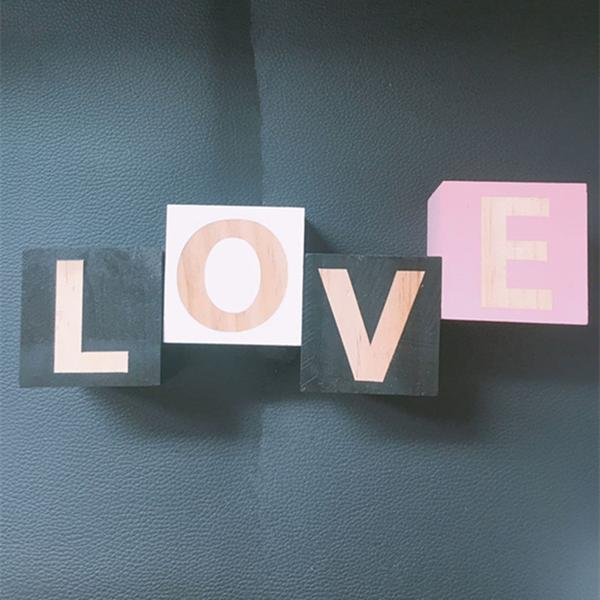 DIY Wooden Letter Blocks in White, Pink and Black