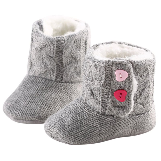 Gray Knitted Baby Booties with Heart Shaped Buttons