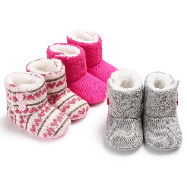 Wool and Cotton Knitted Baby Booties with Heart Shaped Buttons