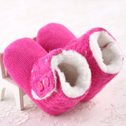 Pink Cozy Wool and Cotton Knitted Baby Booties with Heart Shaped Buttons