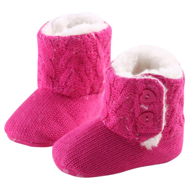 Pink Knitted Baby Booties with Heart Shaped Buttons