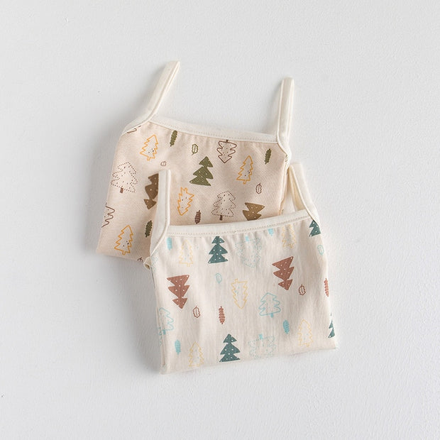 Organic Cotton Sleeveless Christmas Tree Baby Bodysuits, 2-Pack