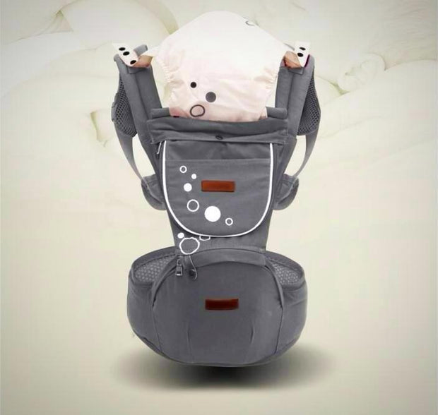 Gray Ergonomic Baby Carrier with Removable Hip Seat