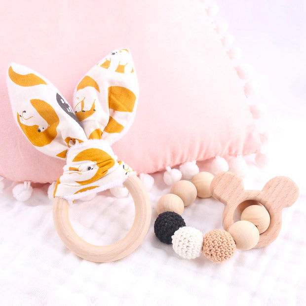 Food Safe Wood and Crochet Handmade Baby Teether with Bracelet and a Ring, 2-Piece Set