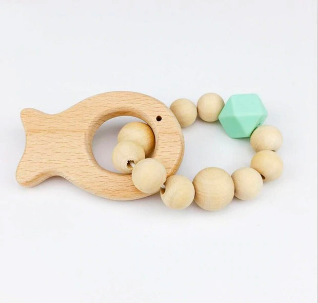 Food Grade Silicone and Wood Handmade Baby Teether