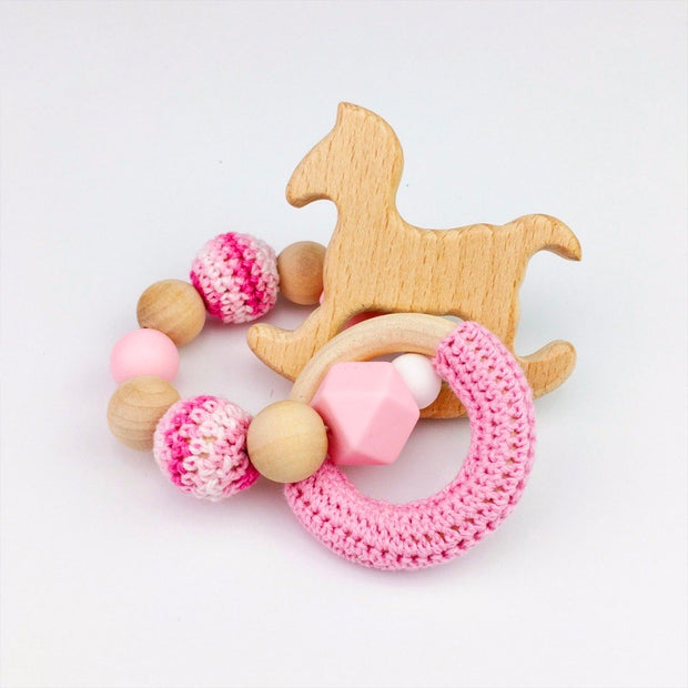 Crochet, Food Grade Silicone and Wood Handmade Teether