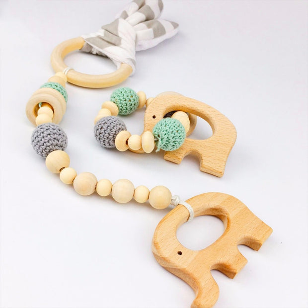 Handmade Baby Teether and Bracelet, 2-Piece Set