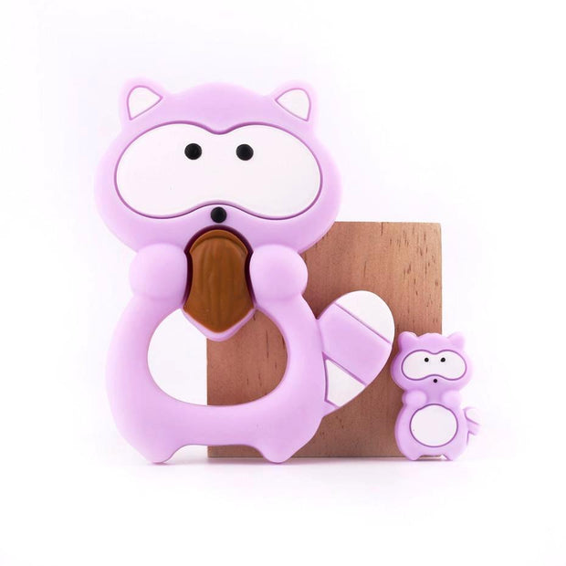 Baby Raccoon Teether and Pendant, 2-Piece Set