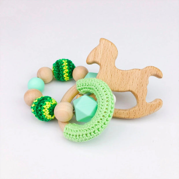 Green Crochet, Food Grade Silicone and Wood Handmade Teether