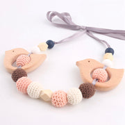 Food Safe Wood and Crochet Handmade Baby Teether and Pacifier Clip, 2-Piece Set
