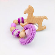 Crochet, Food Grade Silicone and Wood Handmade Teether for baby girl