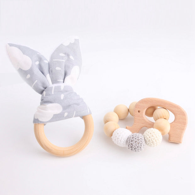 Handmade Baby Teething Bracelet and Ring, 2-Piece Set