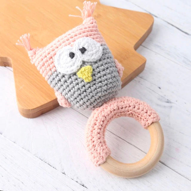 Food Safe Wood and Crochet Teether with Animal Detailing