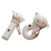 Organic Cotton Baby Elephant Rattle Toy, 2-Piece Set