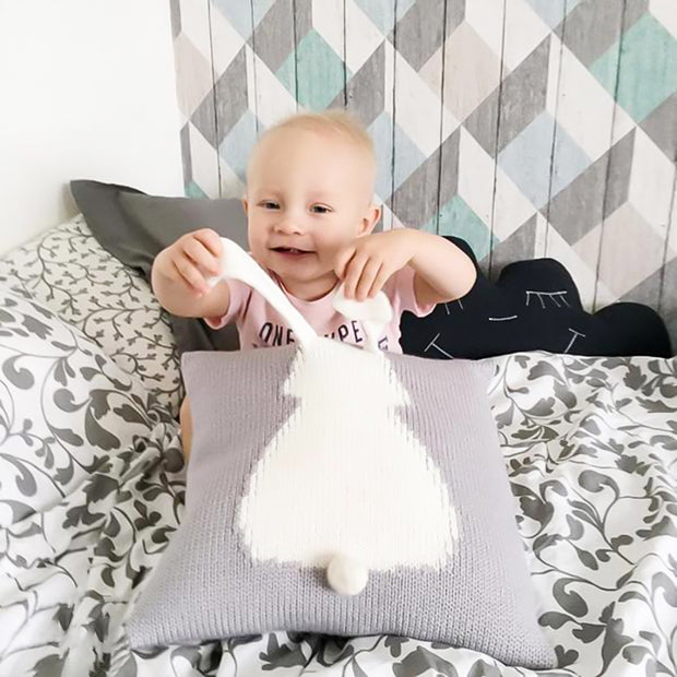 Knitted Toddler Throw Pillow with 3D Bunny minimalist nursery decor organic cotton