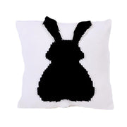 Knitted Toddler Throw Pillow with 3D Bunny organic cotton minimalist black white