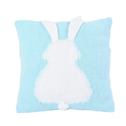 Knitted Toddler Throw Pillow with 3D Bunny blue sky teal organic minimalist