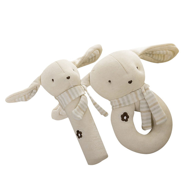 Organic Cotton Baby Rattle Toy, 2-Piece Set