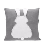 Knitted Toddler Throw Pillow with 3D Bunny organic cotton minimalist gray charcoal