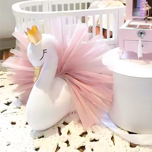 white and pink swan room decor