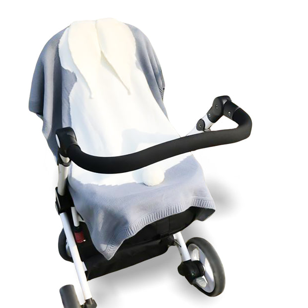 3D Baby Bunny Knitted Stroller Blanket organic cotton minimalist