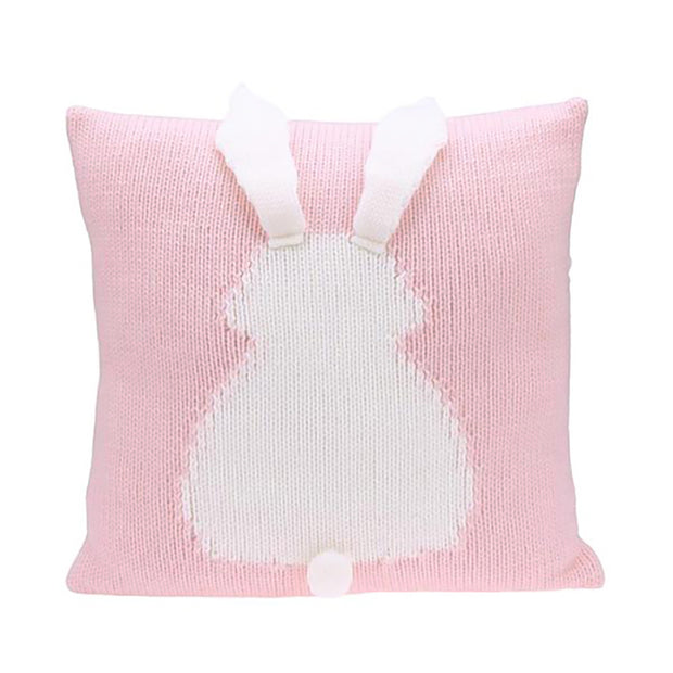 Knitted Toddler Throw Pillow with 3D Bunny organic minimalist pink