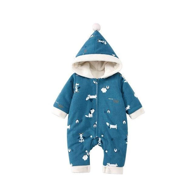 Blue puppy hooded baby outfit