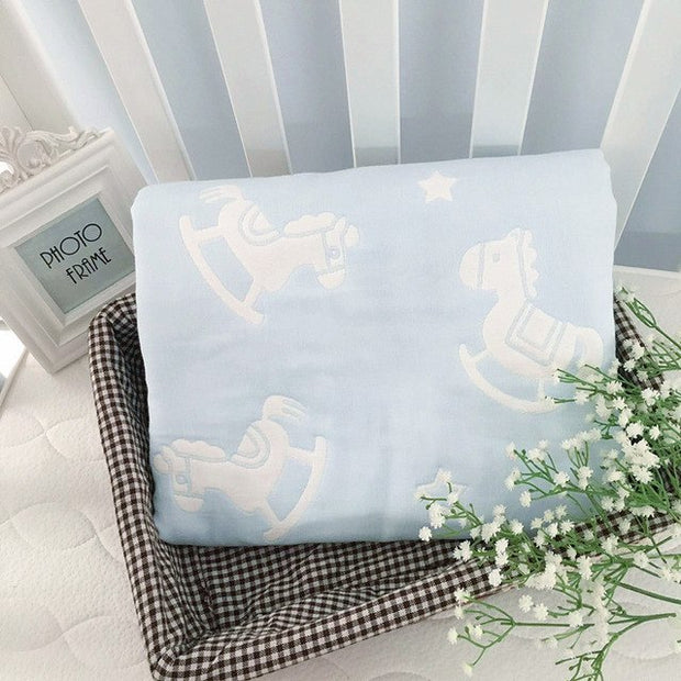 Blue Cotton and Bamboo Baby Blanket
