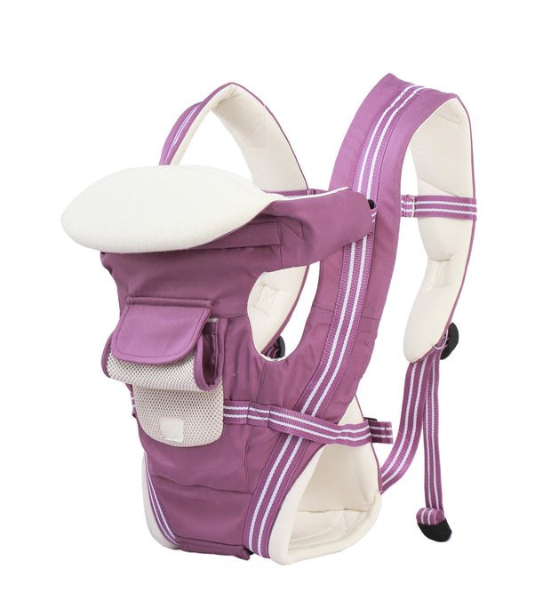 Purple Luxury Cotton Blend 5-in-1 Ergonomic Infant to Toddler Baby Carrier with Removable Hip Seat