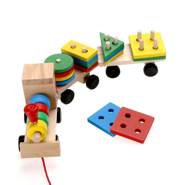Non-Toxic, Montessori Educational, Classic Wooden Baby Stacking Train