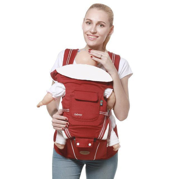 Red Luxury Cotton Blend 5-in-1 Ergonomic Infant to Toddler Baby Carrier with Removable Hip Seat