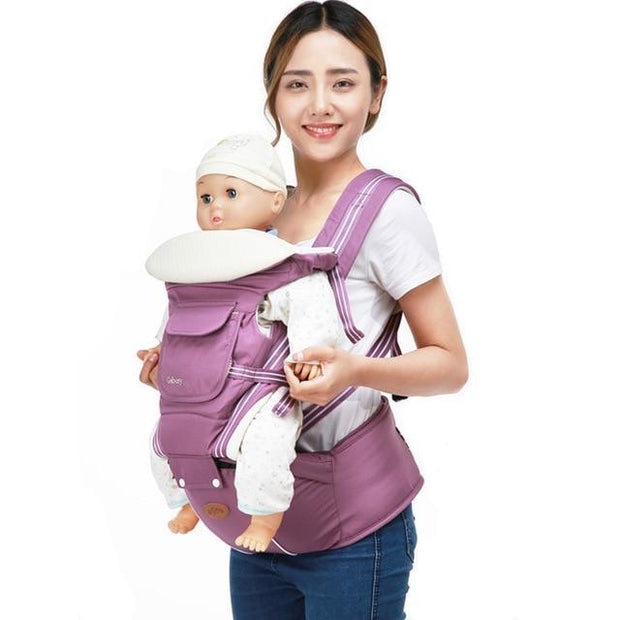 Luxury Cotton Blend 5-in-1 Ergonomic Infant to Toddler Baby Carrier with Removable Hip Seat in Lavender color