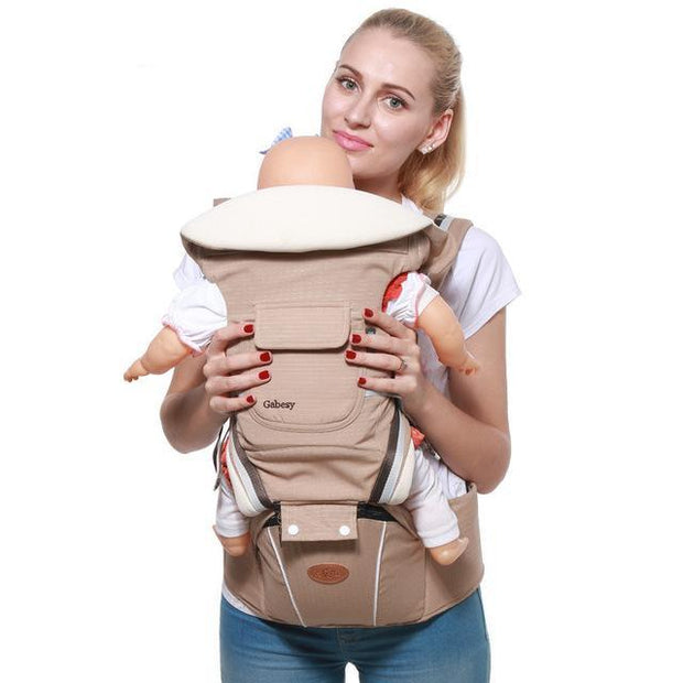 Beige Luxury Cotton Blend 5-in-1 Ergonomic Infant to Toddler Baby Carrier with Removable Hip Seat