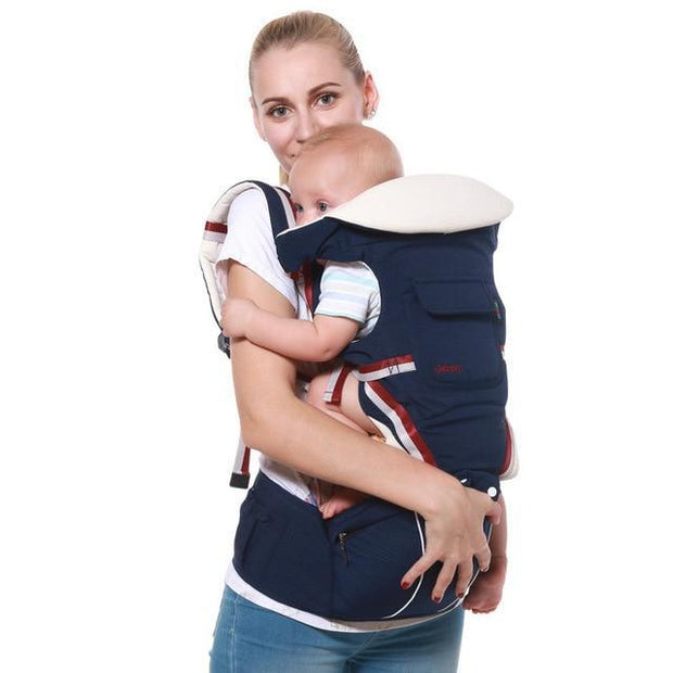Navy Blue Luxury Cotton Blend 5-in-1 Ergonomic Infant to Toddler Baby Carrier with Removable Hip Seat